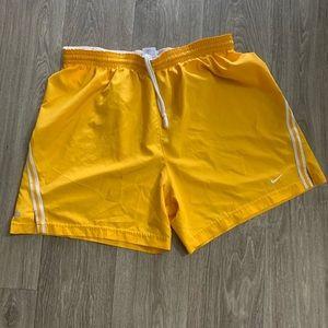 Yellow Nike men's athletic shorts size large
